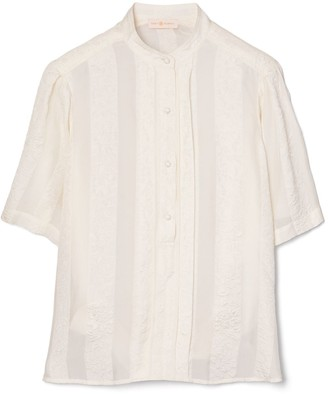 Tory Burch Floral Chiffon Short Sleeve Blouse