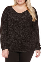 A.N.A a.n.a Long Sleeve V Neck Pullover Sweater-Plus