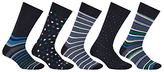John Lewis Multi Design Socks, Pack Of 5, Navy/blue