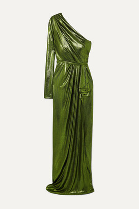 ONG-OAJ PAIRAM Eris One-sleeve Draped Lame Gown - Green