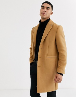 Asos Design DESIGN wool mix overcoat in camel-Tan