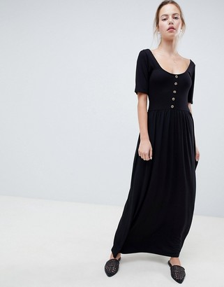 ASOS DESIGN mixed fabric maxi dress with button front