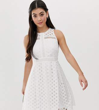 Y.A.S Petite Bridal lace skater dress-White