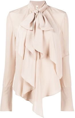 Petar Petrov Draped-Neck Silk Blouse