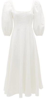 STAUD Wells Square-neck Linen-blend Dress - Womens - White