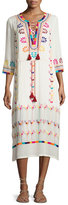 Figue Embroidered 3/4-Sleeve Midi Dress, Ivory