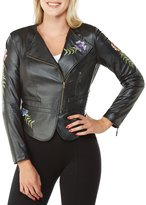 Peter Nygard Faux Leather Embroidered Moto Jacket