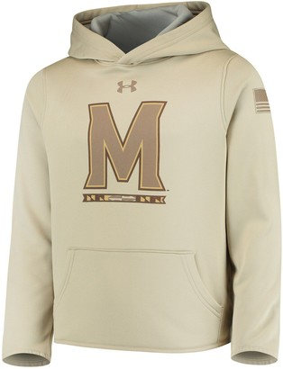 Youth Under Armour Tan Maryland Terrapins Military Appreciation Performance Pullover Hoodie