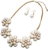 Ella & Elly Women's Necklaces White - White Floral Statement Necklace & Drop Earrings Set
