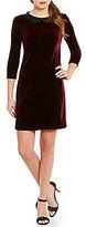 Betsey Johnson Betsy Johnson Beaded Peter Pan Collar Velvet Shift Dress