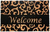 J&M Home Fashions 18-Inch x 30-Inch Welcome Black Scroll Door Mat