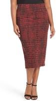 Melissa McCarthy Print Stretch Knit Pencil Skirt (Plus Size)