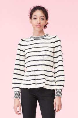 Rebecca Taylor La Vie Peplum Stripe Pullover