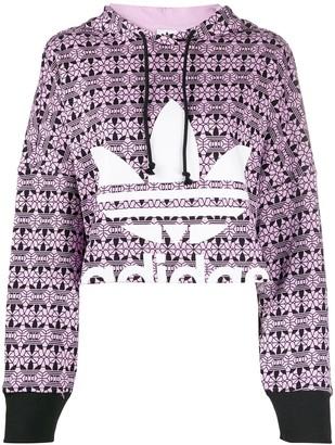 adidas Trefoil allover print hoodie