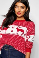 boohoo Snowflake And Reindeer Knitted Christmas Sweater