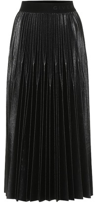 Givenchy Varnished jersey pleated midi skirt