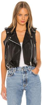 Understated Leather Shrunken Moto Vest