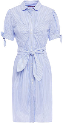 ALEXACHUNG Belted Gathered Striped Cotton-poplin Shirt Dress