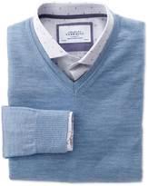 Charles Tyrwhitt Sky merino wool v-neck sweater