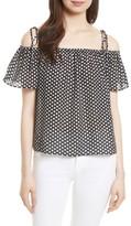 Milly Women's Eden Dot Print Silk Tie Shoulder Top