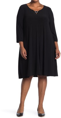 Nina Leonard Pearl Trim 3/4 Length Sleeve Dress