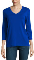 ST. JOHN'S BAY St. John's Bay 3/4 Sleeve V Neck T-Shirt-Womens