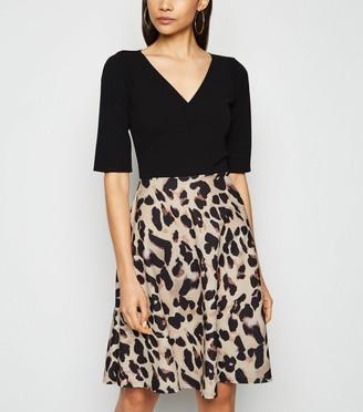 New Look Missfiga Leopard Print Skirt Skater Dress