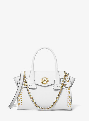 Michael Kors Carmen Small Studded Saffiano Leather Belted Satchel