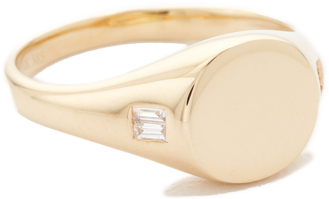Ef Collection 14k Diamond Baguette Signet Ring