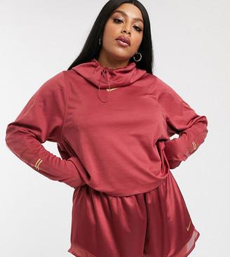 Nike Running Plus long sleeve hooded top in pink