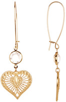 Betsey Johnson Crystal Gold Heart Dangle Earrings