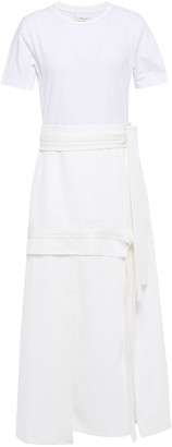 3.1 Phillip Lim Tie-detailed Jersey And Knitted Midi Dress