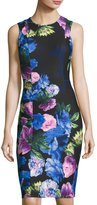 Eliza J Sleeveless Floral-Print Scuba Sheath Dress, Black/Blue