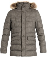 Herno Fur-trimmed Silk And Cashmere-blend Padded Parka