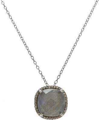 ADORNIA Sterling Silver Labradorite & Diamond Lara Necklace - 0.70 ctw