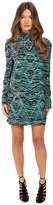 Just Cavalli Zebra Kiss Print Long Sleeve Dress Women's Dress