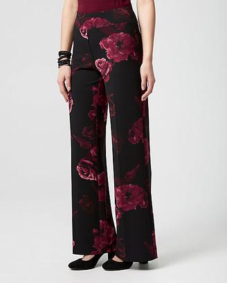 Le Château Floral Print Knit Crepe Wide Leg Pant