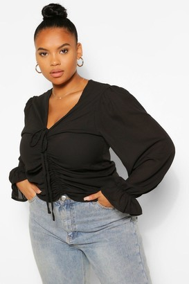 boohoo Plus Ruched Plunge Puff Sleeve Blouse