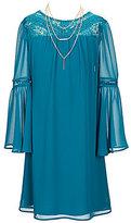 I.N. Girl Big Girls 7-16 Lace Detail Bell-Sleeve Dress