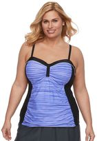Free Country Plus Size Space-Dyed Ruched Tankini Top
