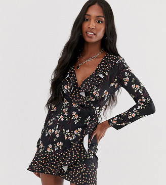 Parisian Tall wrap dress with frill in floral mix print-Black