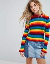 Daisy Street Skinny Jumper In Rainbow Knit