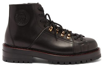 Versace Medusa-patch Leather Hiking Boots - Black