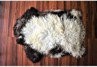 "Bunn-O-Matic Animal Print Handmade 1'11"" x 2'10"" Sheepskin White/Brown Indoor / Outdoor Area Rug Millwood Pines"