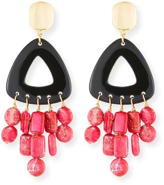 Nest Jewelry Black Horn Statement Dangle Earrings w/ Jasper