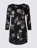 Marks and Spencer Floral Print Slash Neck 3/4 Sleeve Tunic