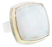 Jamie Joseph Mother of Pearl and Crystal Quartz Square Ring