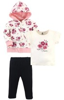 Hudson Baby Hudson Toddler Girl Cotton Hoodie, Tee Top and Pant Set, 3pc
