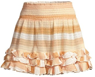Ramy Brook Madina Stripe Ruffle A-Line Mini Skirt