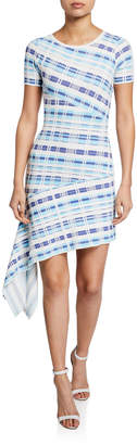 Milly Plaid Directional Draped Short-Sleeve Asymmetric Dress